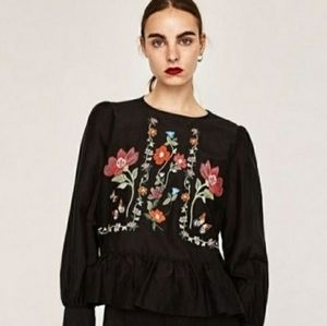 Zara Floral Embroidered Long Sleeve Peplum Top L